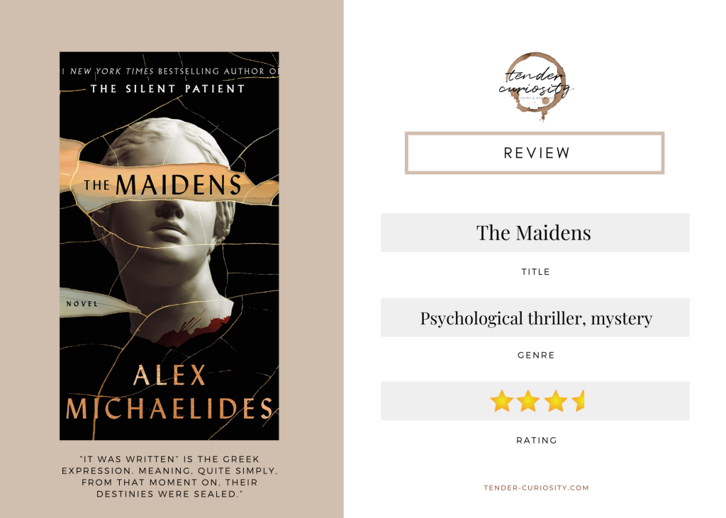 Review overview of The Maidens by Alex Michaelides, including title, genre, rating, cover, and a quote.